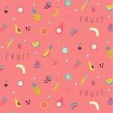 Teste padrão pequeno dos ícones das frutas e legumes ilustração royalty free
