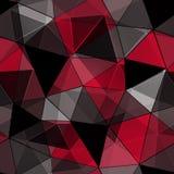 Teste padrão poligonal sem emenda, preto, fundo vermelho ilustração stock