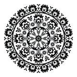 Teste padrão polonês da arte popular no círculo - lowickie wzory, wycinanki Imagens de Stock Royalty Free