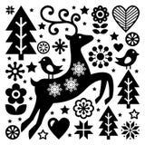 Teste padrão popular preto e branco do Natal, arte popular escandinava, rena, pássaros e decoração ou cartão das flores Imagem de Stock