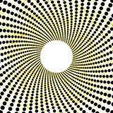 Teste padrão preto amarelo pontilhado retro dos círculos Foto de Stock Royalty Free