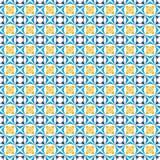 Teste padrão preto, azul e amarelo das cores Imagens de Stock