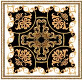 teste padrão preto branco do lenço do fundo do ornamento barroco dourado ilustração stock