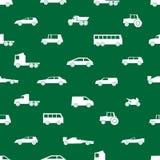 Teste padrão preto dos ícones das silhuetas dos carros simples Fotos de Stock
