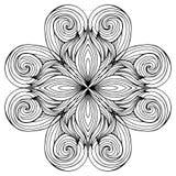 Teste padrão preto e branco circular da garatuja do cabelo Fotografia de Stock Royalty Free