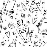 Teste padrão preto e branco com garrafas cosméticas ilustração royalty free