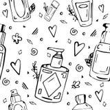 Teste padrão preto e branco com garrafas cosméticas ilustração do vetor