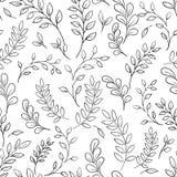 Teste padrão preto e branco da folha sem emenda Fotos de Stock Royalty Free