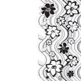 Teste padrão preto e branco das flores Foto de Stock