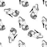 Teste padrão preto e branco das sandálias Fotos de Stock