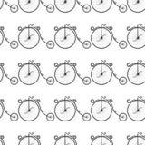 Teste padrão preto e branco de bicicletas do vintage Imagem de Stock Royalty Free