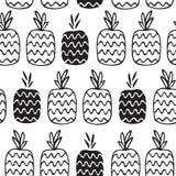Teste padrão preto e branco do abacaxi Foto de Stock
