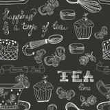 Teste padrão preto e branco do tempo do chá Fotos de Stock