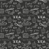 Teste padrão preto e branco do tempo do chá Imagem de Stock Royalty Free