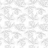 Teste padrão preto e branco sem emenda com as folhas no estilo do vintage Imagens de Stock