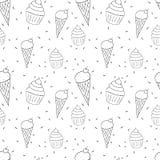 Teste padrão preto e branco sem emenda com garatujas dos cones e dos queques de gelado Fotografia de Stock Royalty Free