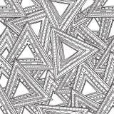 Teste padrão preto e branco sem emenda dos triângulos Páginas da coloração para adultos Fotografia de Stock