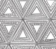 Teste padrão preto e branco sem emenda dos triângulos Páginas da coloração para adultos Imagem de Stock