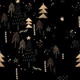Teste padrão preto e dourado do Natal fotos de stock