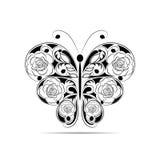 Teste padrão preto floral em uma forma de uma borboleta isolada no fundo branco Imagens de Stock Royalty Free