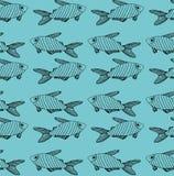 Teste padrão preto listrado dos peixes no fundo de turquesa ilustração do vetor