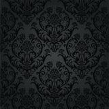 Teste padrão preto luxuoso do papel de parede floral do carvão vegetal Imagens de Stock