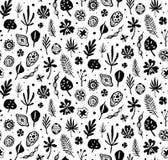 Teste padrão preto na moda sem emenda com sementes e folhas em um fundo branco Ilustração botânica do vetor Fotografia de Stock