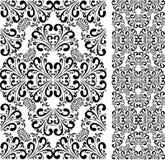 Teste padrão preto sem emenda do damasco no branco. Fotografia de Stock Royalty Free