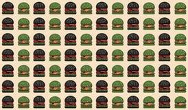 Teste padrão preto verde do Hamburger ilustração do vetor