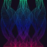 Teste padrão psicadélico, decorativo, ondas, linhas, rosa azul azul GR Imagens de Stock