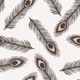 Teste padrão rústico de Lino Cut Texture Seamless Vetora da pena do pavão, esboçado ilustração royalty free