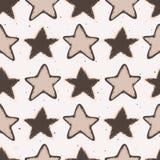 Teste padrão rústico de Lino Cut Texture Seamless Vetora das estrelas do inverno, esboçado ilustração stock