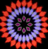 Teste padrão radial do diamante vermelho abstrato, fundo preto ilustração do vetor
