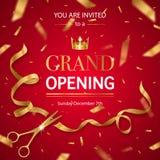 Teste padrão realístico do convite da grande inauguração ilustração royalty free