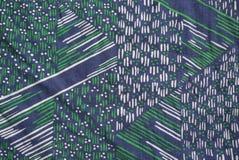 Teste padrão real do algodão dos anos 70 da tela do vintage geométrico branco verde da marinha Fotos de Stock Royalty Free
