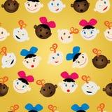 Teste padrão recém-nascido das faces Imagens de Stock