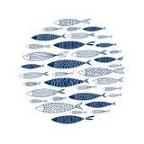 Teste padrão redondo de peixes decorativos Imagens de Stock