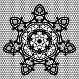 Teste padrão redondo decorativo preto do laço com grade sem emenda do laço Foto de Stock
