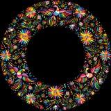 Teste padrão redondo do quadro do bordado mexicano do vetor Foto de Stock Royalty Free