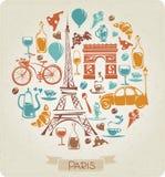 Teste padrão redondo em Paris ou no tema francês Fotos de Stock Royalty Free