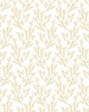 Teste padrão repetível floral delicado do vetor Branco e projeto do ouro ilustração stock