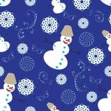 Teste padrão repetido com bonecos de neve ilustração royalty free
