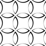 Teste padrão repetitivo monocromático com formas da pétala/flor/folha ilustração stock