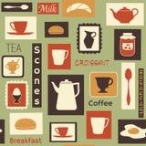 Teste padrão retro com os pratos da cozinha para o pequeno almoço Imagens de Stock Royalty Free