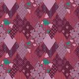 Teste padrão retro cor-de-rosa sem emenda dos retalhos Imagens de Stock