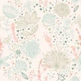 Teste padrão retro da flor e da folha do vetor Imagens de Stock Royalty Free