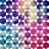 Teste padrão retro de fôrmas geométricas Parte traseira colorida do mosaico do triângulo ilustração stock