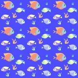 Teste padrão retro dos peixes com amostra de folha ilustração stock