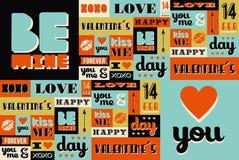 Teste padrão retro feliz do vintage do dia de Valentim Fotografia de Stock