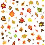 Teste padrão retro sem emenda das folhas de outono dos anos 50 Fotografia de Stock Royalty Free